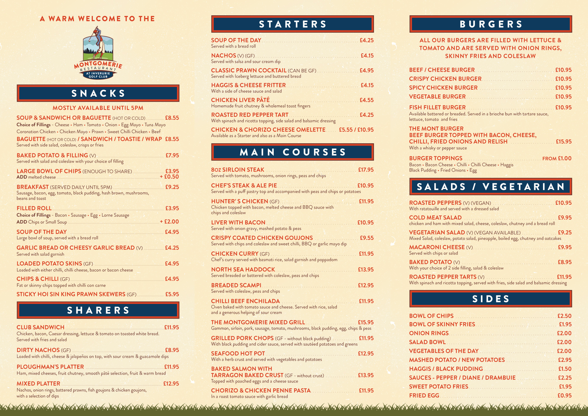 Montgomerie Main Menu 2 of 2