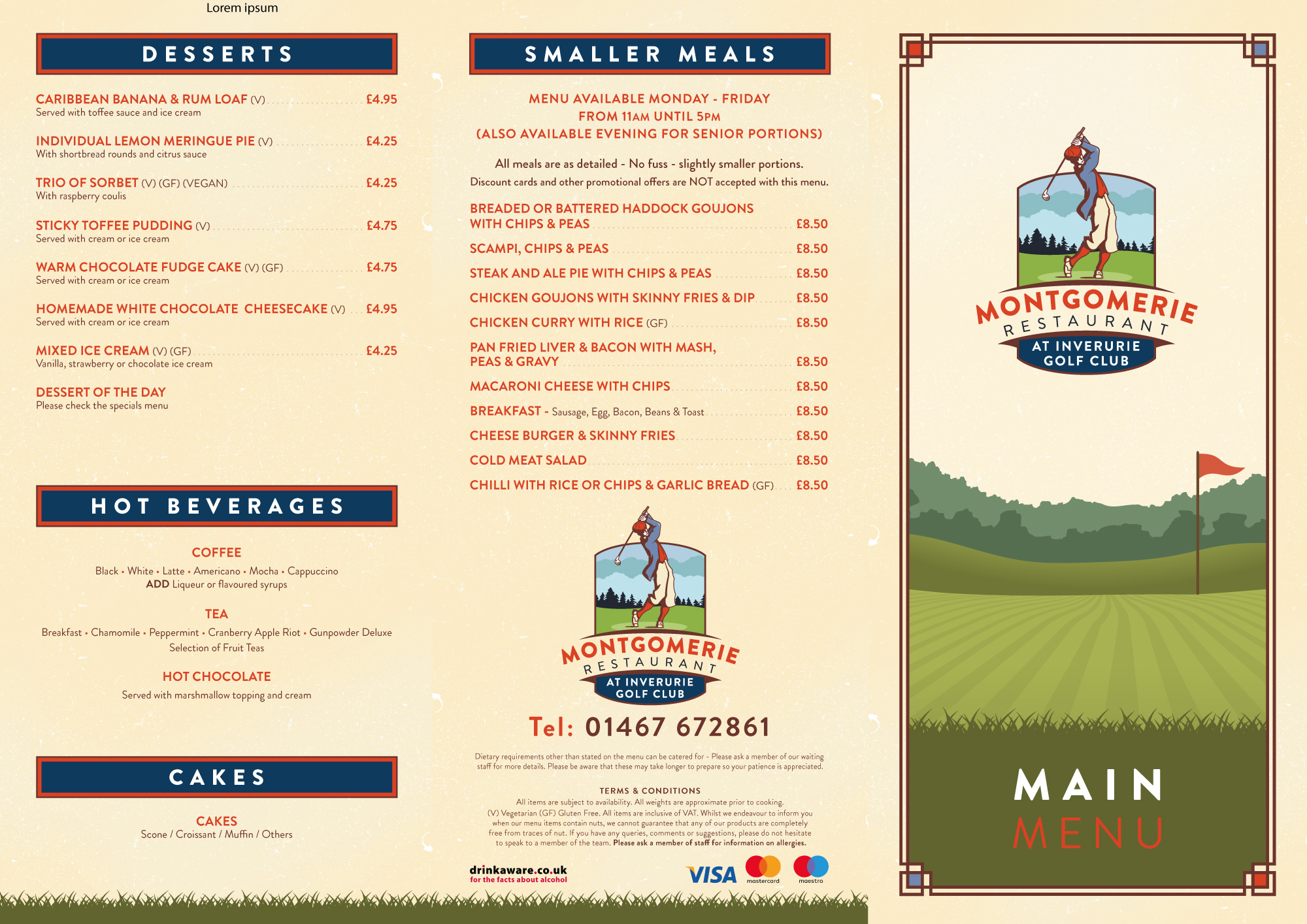 Montgomerie Main Menu 1 of 2